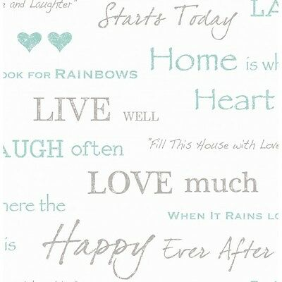 HOME IS WHERE THE HEART IS TEAL SILVER WHITE LUXURY HEAVYWEIGH WALLPAPER FD40428