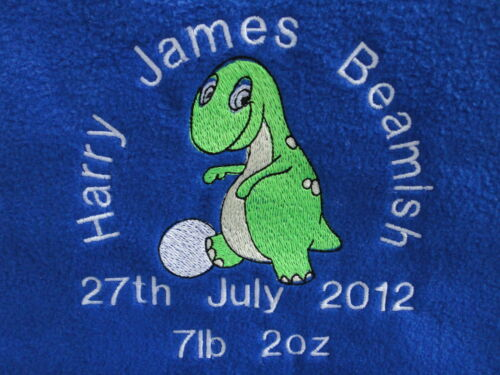 Dinosaur design in a choice of 7 colours Personalised Baby Blanket