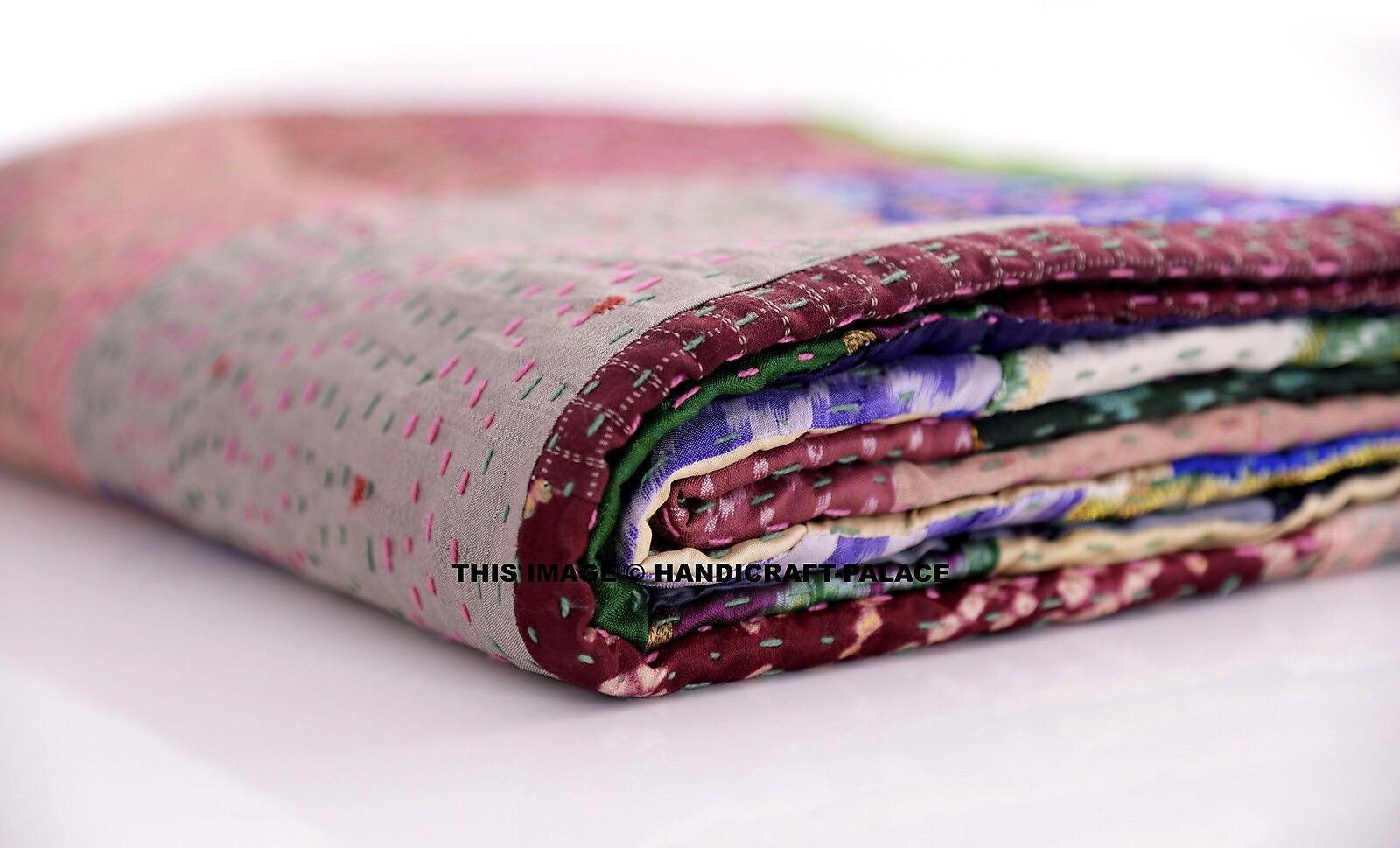 Indian Silk Sari Patchwork Kantha Quilt Twin Bedding Throw Reversible Bedspread