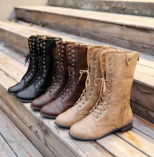Retro Womens Retro Combat Lace Up Military Army Mid Calf Boots Biker Shoes New