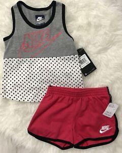 59b8b311f3 NIKE Toddler Girls Shorts Shirt Tank Outfit Set PINK RUSH Size 2T ...