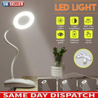 Light Clip-on Beside Dimmable LED Desk Bedside Reading Lamp Table Book Lamp UK