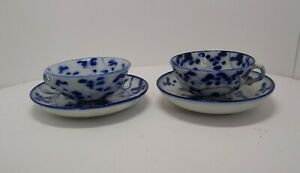 Circa 1880 Antique Arita Japan Porcelain Demitasse cups and saucers pair (2 ea)