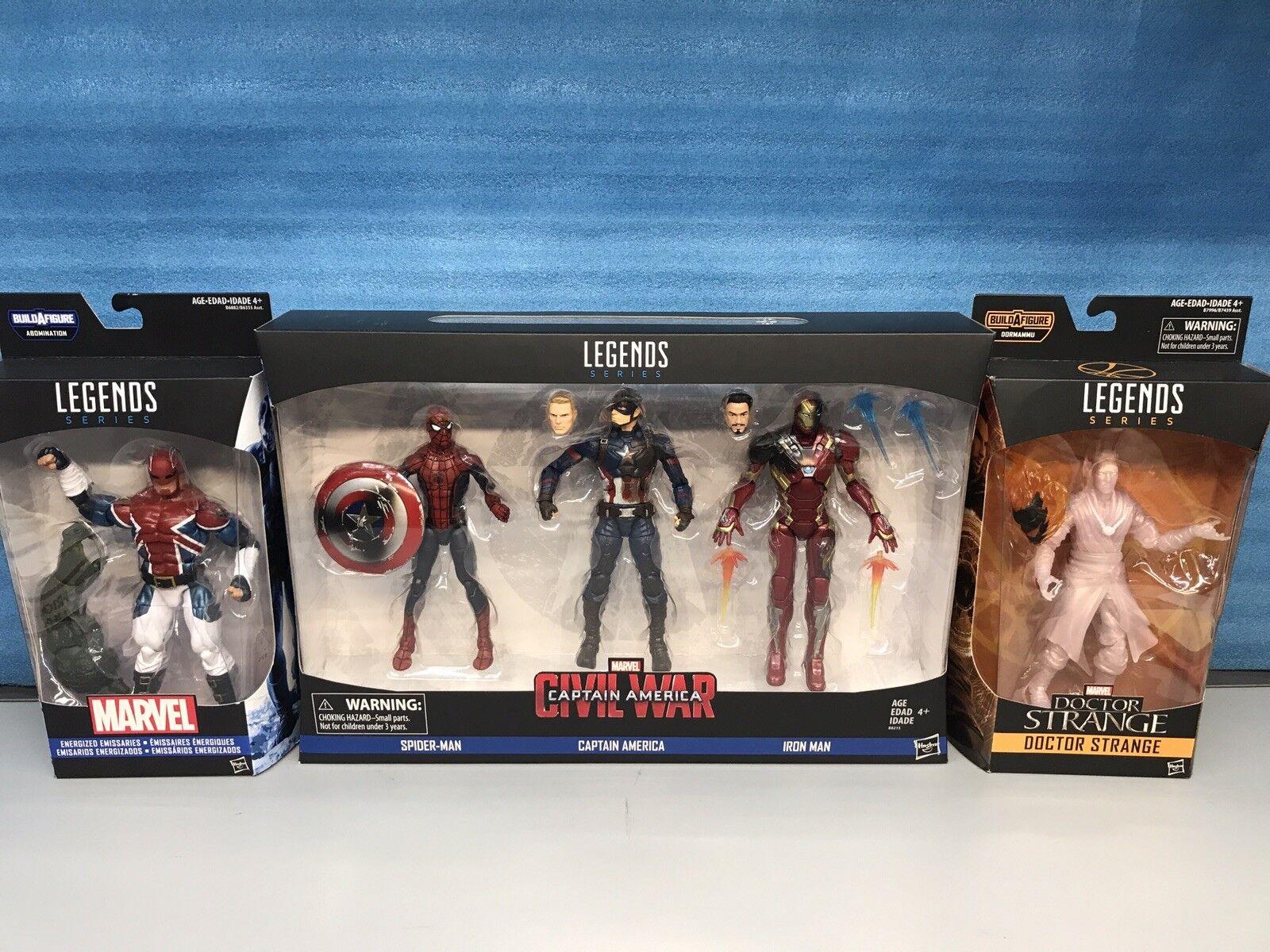 Marvel Legends Lot Spider-man, Captain, Iron Man, Dr Strange Captain Britain New