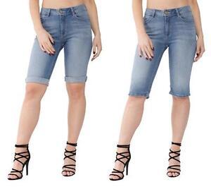 be80c4def Details about Womens Ladies Ex High Street High Waisted Light Denim Knee  Length Summer Shorts