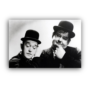 LAUREL-AND-HARDY-CANVAS-FRAMED-WALL-ART-PRINT-VINTAGE-OLD-HOLLYWOOD-A1-A2-A3-A4