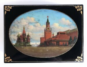 Huge Vintage Russian Fedoskino Lacquer Paper Mâché Jewelry Box Oil Painting 1956