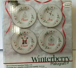 Pfaltzgraff-WINTERBERRY-Set-of-4-Round-6-034-Appetizer-Plates-Christmas-Holiday-NIB