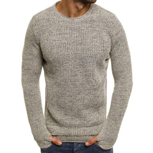 Ozonee Mix Breezy Sweater Figurbetont Basic Pullover Langarmshirt Herren B9038s wAOxqarw8