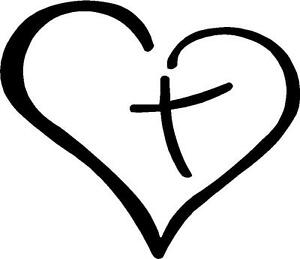 Christian Sticker Decal CROSS Inside The Heart 8 X 10 MANY SOLD