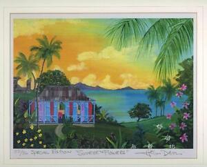 VINTAGE RARE FOLK ART TROPICAL HOUSE SUNRISE & FLOWERS 33/36 HELEN DAVIS PRINT