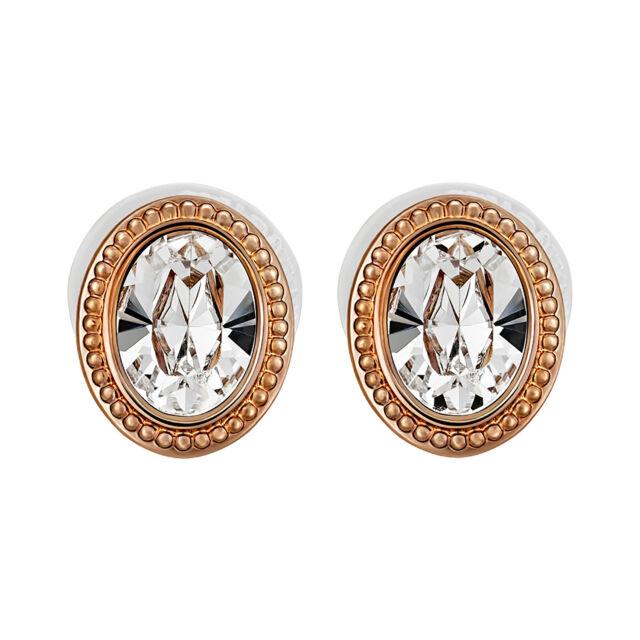 Swarovski Arrive 5036772 White Oval Crystal Rose Gold Plated Stud Earrings