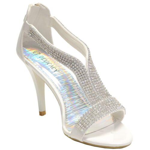 New women/'s shoes back zipper open toe stilettos rhinestones prom party white