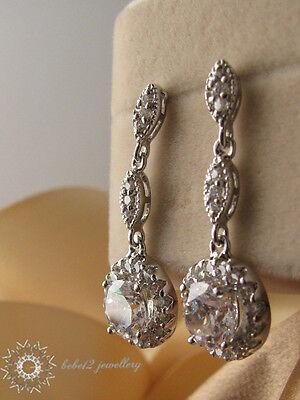 Wedding/Bridal/WGP/Long Drop Clear Swarovski Crystal Earring/RGE402