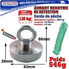 AIMANT Néodyme de détection - Force d'adhérence 130 kg + Corde de pêche (613)