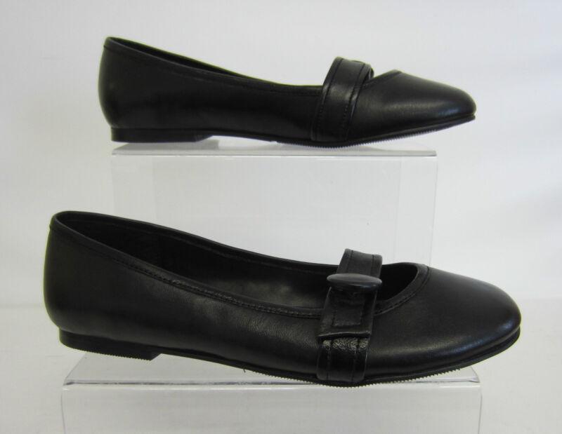 Spot On Donna/ragazze F8220 Piatto Nero Pelle Scarpa Slip On Uk 5 (go)