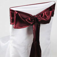 6 Red Wine Burgundy Satin Wide Sashes Chair Cover-ribbon Wedding Reception Party
