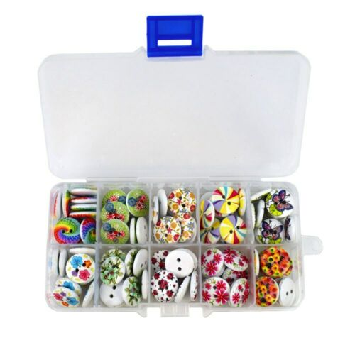 150PCS Mixed Flower Print 2 Holes Wooden Buttons with Box 15MM Sewing Buttons