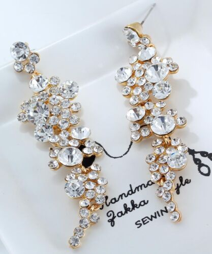 1 Paire élégant jaune cristal Strass Ear Drop Dangle Stud Long Boucles D/'oreilles 30