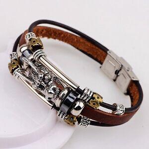 Men-039-s-Tibetan-silver-men-leather-bracelet-fashion-male-Retro-dragon-Multilayer