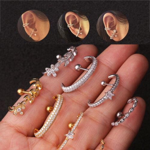 New Ball CZ Ear Cuff Stud Daith Tragus Rook Piercing Jewelry Bar Lobe Earring UK