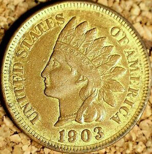 1903 Indian Head Cent - EXTRA FINE GOLDEN TONED, Cleaned (J764)