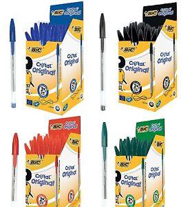 Original Bic Cristal Medium 1.0 mm Ballpoint Pen Biro Pens Black Blue Red Green