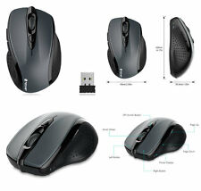 TeckNet Pro 2.4G Wireless Optical Mouse Mice 6 Buttons 24 Month Battery Grey