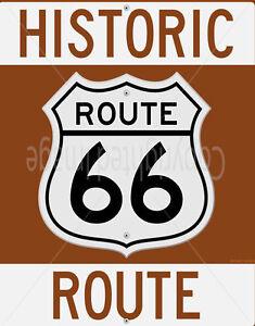 Historic Route 66 Vintage Garage Métal Tin Signe Affiche Plaque Murale