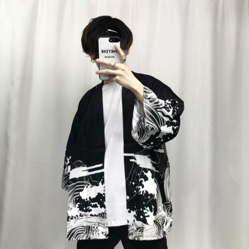 Mens Japanese Dragon Print Loose Cardigan Hiphop Kimono Shirts Short Sleeve Tops