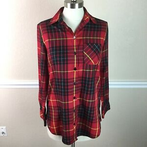 Foxcroft-Womens-Top-Red-Plaid-Long-Sleeve-Wrinkle-Free-Shaped-Fit-Size-4