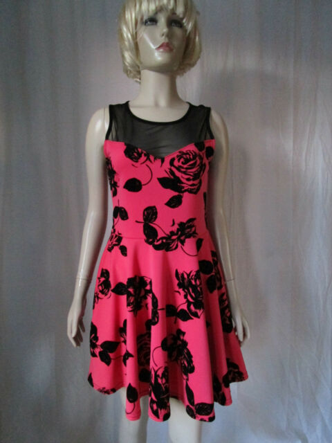 New look cameo rose pink & black mesh top skater dress Size 10 New