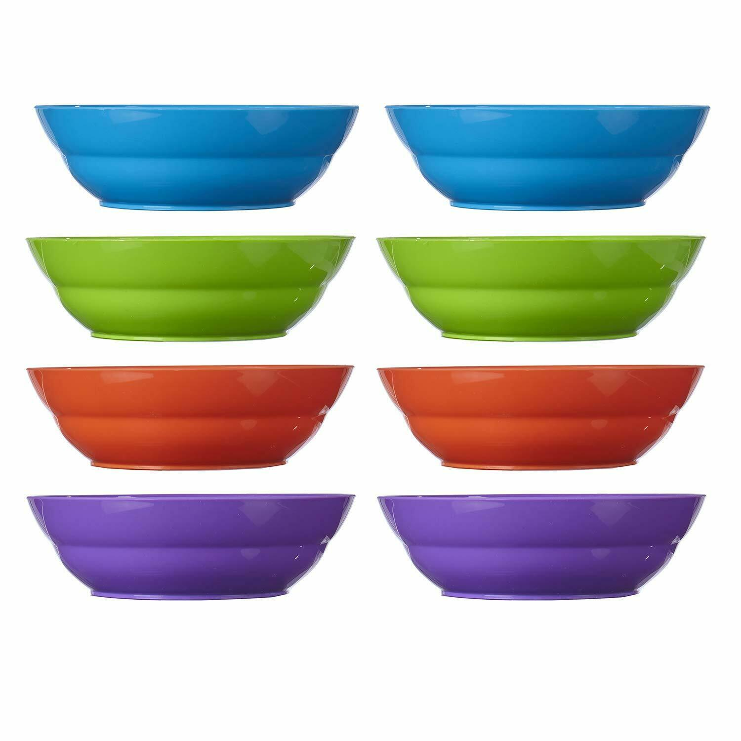 Classic Colors Plastic Cereal Bowls 7-inch Pasta Salad Dinner 28 oz set of 8
