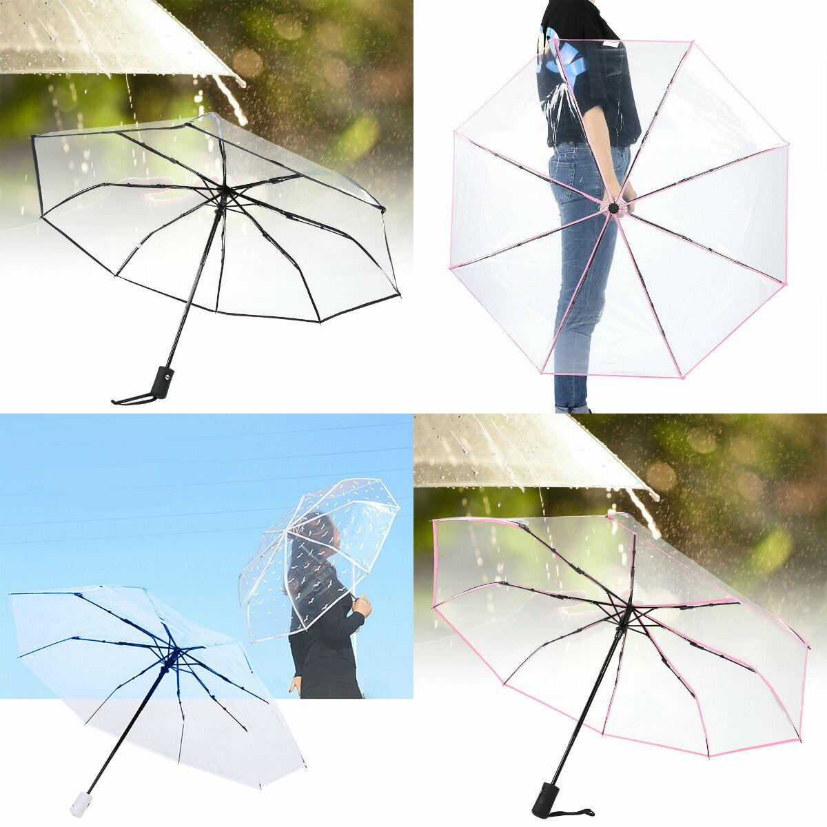 3 Fold Small Compact Folding Telescopic Rain Umbrella Tartan Checked Pattern