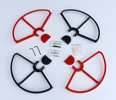 2RED&2BLACK SNAP ON/OFF PROP GUARDS QUICK RELEASE DJI PHANTOM 1 2 3 PRO VISION+