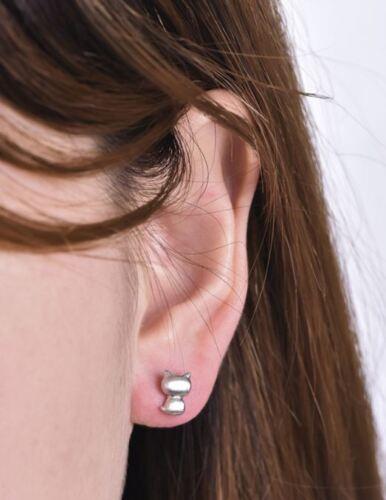Boucle d/'oreille doré or fin mini Puce Bijoux femme tendance Or   Chat  E31