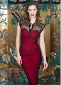 Red with Black Lace Dress Stop Staring TWILIGHT Dress TWLGT-03 RED