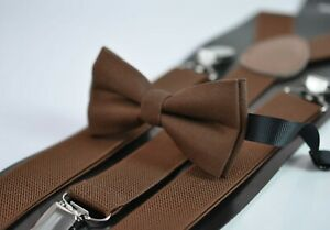 Toffee-Brown-Cotton-Bow-Tie-Matched-Elastic-Suspenders-Braces-for-All-Ages