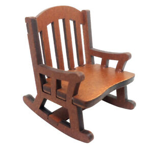 1 12 Dollhouse Miniature Outdoor Furniture Wooden Rocking Chair