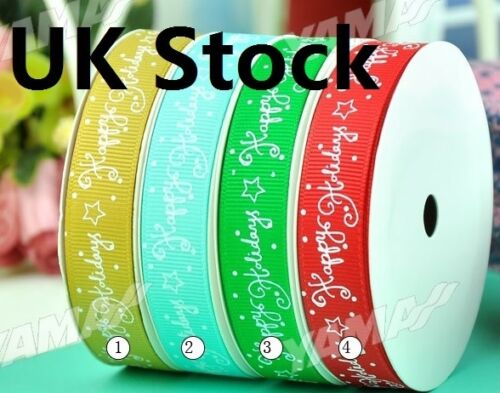 UK Stock Sale New Christmas Ribbon Gift wrap GROSGRAIN Printed Ribbon 9mm