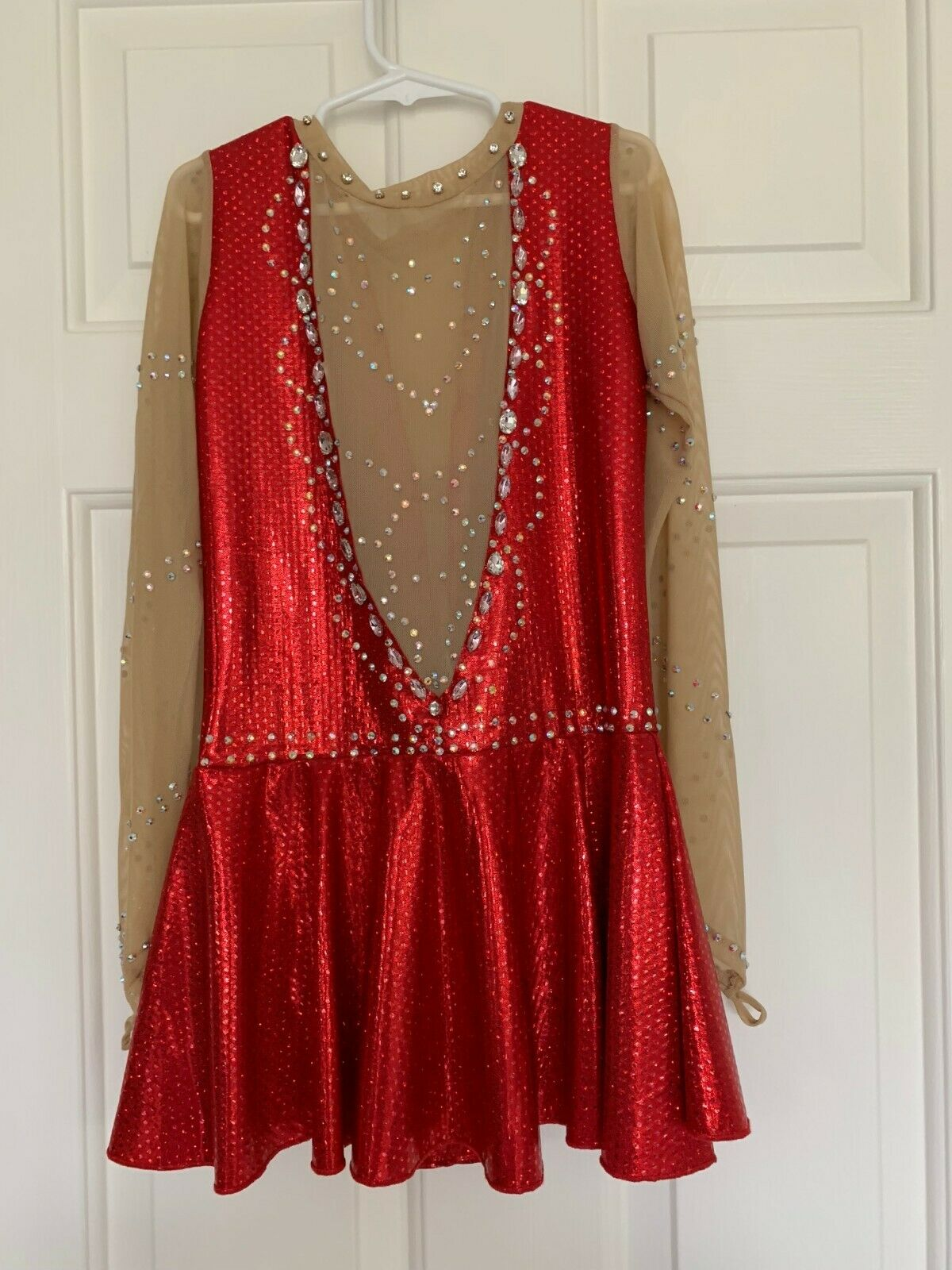 Girl - Clear Sleeves Red  Beaded Figure Skating Dress  limit buy