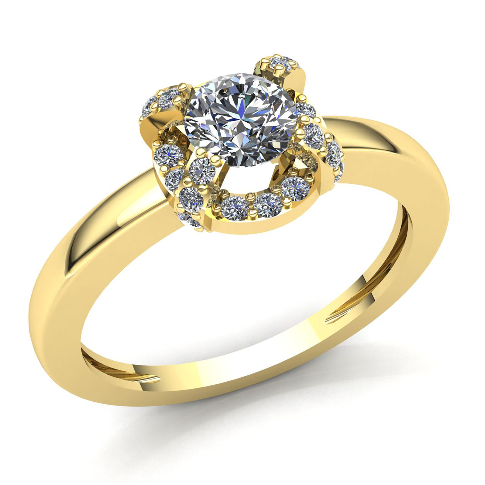 0.75ct Round Cut Diamond Ladies Bridal Halo Solitaire Engagement Ring 18K gold