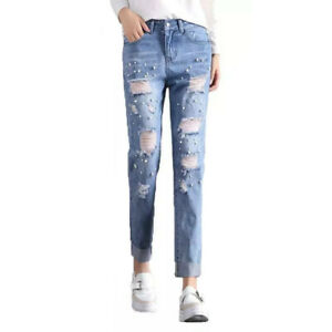 Blue Ripped Jeans For Women Plus Size Slim Distressed Destroyed Jeans With Beads