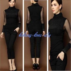 New High Collar Womens Vintage Victorian Black Top Shirt Mesh Sheer
