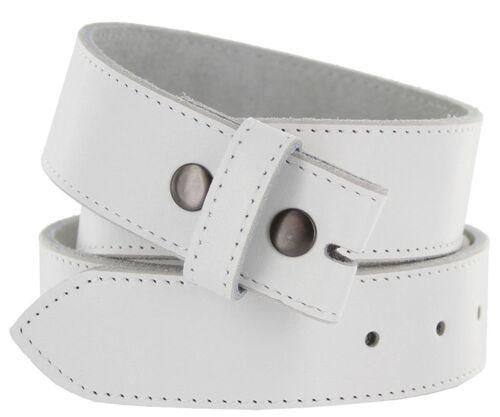 """Hagora Men White 1.5/"""" Wide Genuine Cowhide Stitched Silver Snaps Belt Strap"""