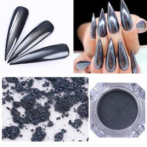 b1246d0225 Details about 1Box Nail Art Magic Mirror Powder Black Decorations Glitter  Smooth Dust Chrome
