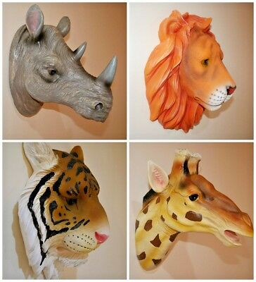 Large Wall Mounted Hanging Animal Head Resin Ornaments Home Decoration Realistic Ebay