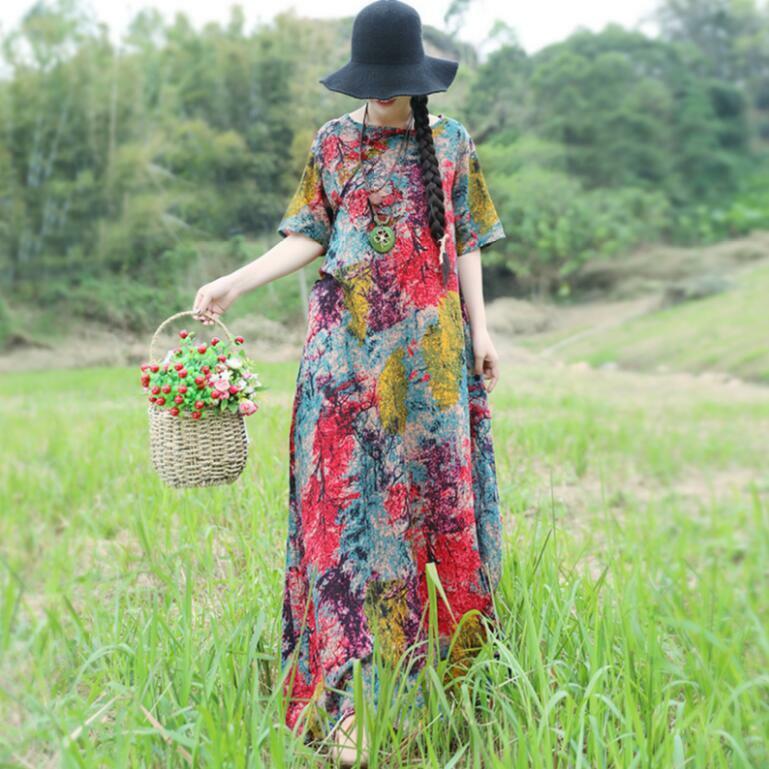 Women Retro Cotton Linen Summer Maxi Ethnic Dresses Long Loose Oversize Dresses