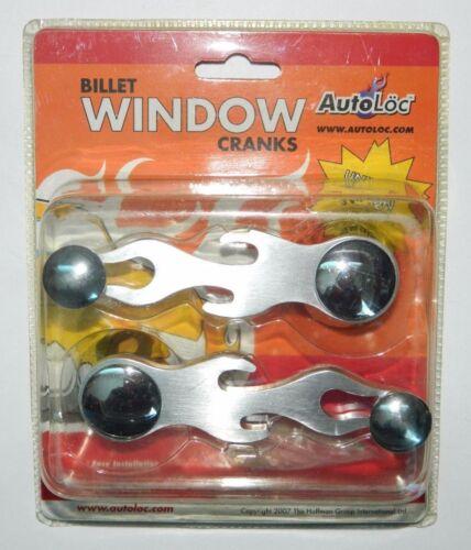 NEW Autoloc Billet Aluminum Flames Window Crank Pair Universal Fit Rat Hot Rod