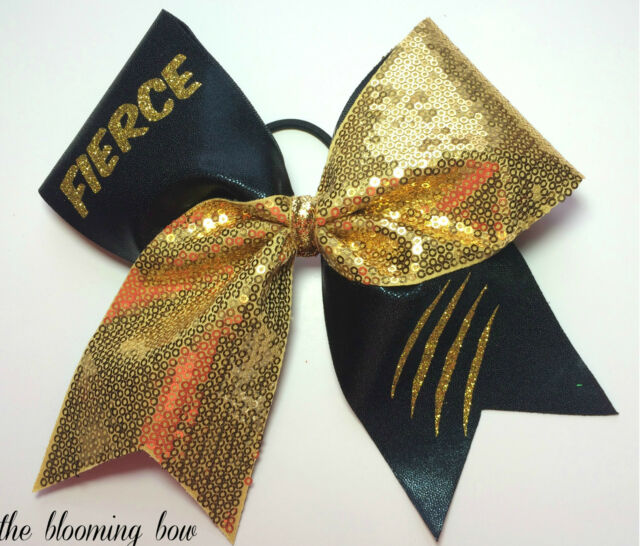 Cheer Bow FIERCE Claws Out Cheerleader gold and black hair bow